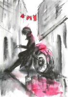 Woman motorcycle bike racer city painting original watercolor ACEO card