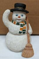 VINTAGE WOODEN SNOWMAN FIGURE WITH TOP HAT AND BROOM Holiday Decor Christmas