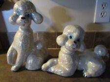 Set Of 2 Large Ceramic Opalescent Poodle Figurines 1950-60'S
