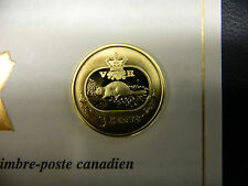 2001 Canada's Only 3 cent Silver Beaver Coin with 24K Gold Plating!