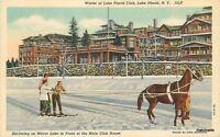 1940s Lake Placid New York Winter Lake Placid Ski Joring Teich postcard 7214