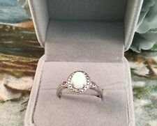 Vintage Jewellery White Gold Ring with Opal Rubies Diamond Antique Jewelry sz R