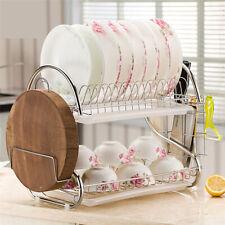 2-Tier Dish Drying Rack Dish Rack Drainer Holder Kitchen Storage Dish Organizer