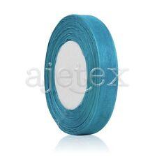 "50 Yards 1/8""3mm Sheer Organza Ribbon Bows Wedding Supply DIY Dark Turquoise OBS"