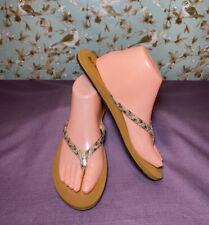Size 9 | Reef Women's Flip Flops Brown W/ Golden Metallic Straps