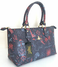 VIVIENNE WESTWOOD ANGLOMANIA NAVY BLUE & DEEP RED CANONBURY LONG TOTE BAG BNWT