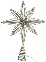 Extra Large Christmas LED Tree Topper Star Decoration Gold Glitter 35cm Tall