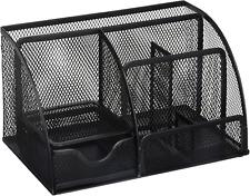 Greenco Mesh Office Supplies Desk Organizer Caddy, 6 Compartments, Large Black
