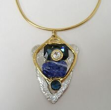 Chunky Pendant Necklace Crystal Blue Semi Precious Gemstone Silver Gold New Gift