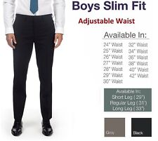 Boys Skinny Trousers School Slim Fit Black Grey Navy Short Regular Long Leg
