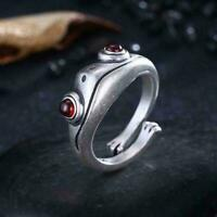 Silver Frog Open Ring for Women Men Vintage Punk Animal Figure Ring Party Gift