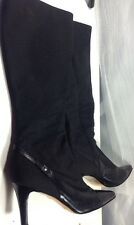 Mark Schwartz Knee High Heeled Boots Leather & Material, Black, Size 39
