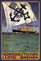 Norddeutscher Lloyd Bremen Blechschild Schild gewölbt Tin Sign 20 x 30 cm FA1139