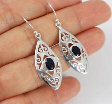 Pretty Solid 925 Sterling Silver, Black Agate Dangle / Drop Earrings jewellery