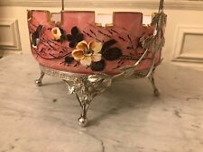 Victorian Pink Glass Floral Bird Silver plated Bride Basket Dragonfly Epergne
