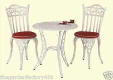 Tuscany White Cast Aluminium Garden Furniture Set With Cherry Red Seat Pads