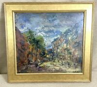 French Impressionist  Landscape Painting Original Oil Framed Signed 1930 Vintage