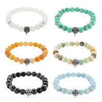 Natural Stone Lucky Clover Bracelet Vintage Charm Round Chain Beads Bracelets