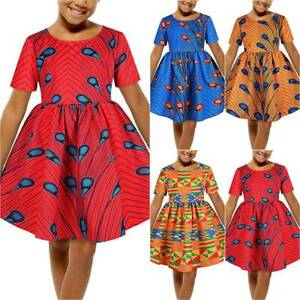 Kids Girls Summer Baggy Holiday Round Neck Short Sleeve African Swing Dress HOT