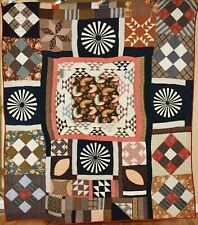 SPECTACULAR Vintage 1870's Medallion Sampler Antique Quilt ~VIBRANT EARLY FABRIC