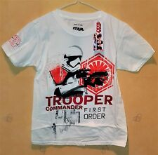 "NEW Disney Star Wars""Trooper Command"" T-Shirt, White, Short Sleeve, Boys 7-8 yrs"