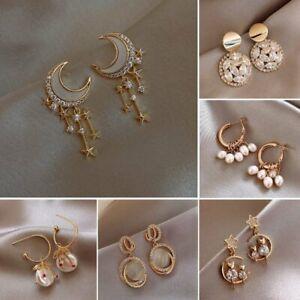 Luxury Pearl Crystal Tassel Moon Dangle Earrings Stud Wedding Party Women Gift