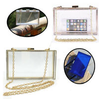 Women Evening Party Acrylic Transparent Clutch Box Purse Bag Wedding Handbag
