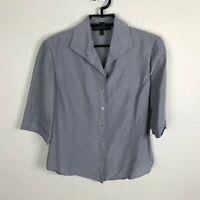 Lafayette 148 New York Blouse Womens Size 6 Slate Blue Short Sleeve Silk Shirt