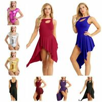 UK_Adult Women Ballet Dance Leotard High Low Dress Gymnastics Dancewear Costumes