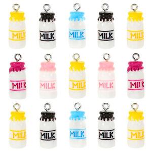 10Pcs Resin Milk Charms Drink Bottle Pendant Diy Handmade Earrings Bracelet