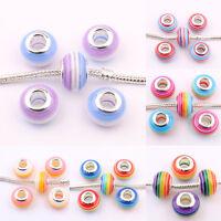 5/20pcs Murano Lampwork Glass Charm Big Hole Beads fit European DIY Bracelets