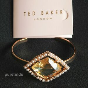 TED BAKER ROSE GOLD TONE CRYSTAL CUFF BANGLE BRACELET with Gift Pouch