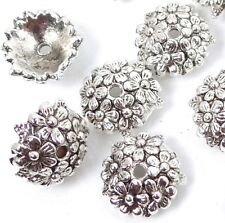 25 Antique Silver Pewter Flower Bead Caps 11mm ~ Lead-Free ~
