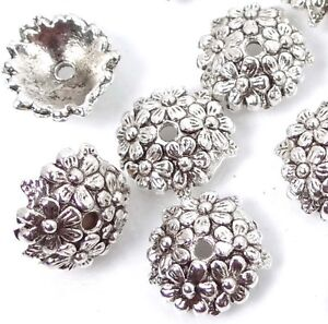 25 Antique Silver Pewter Flower Bead Caps 11mm