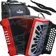 NEW 2019 Hohner Compadre FBE Fa Diatonic Accordion RED with Silver Grille + Bag