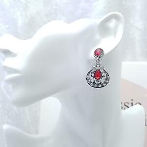 Ruby Red Crystal Glass & Silver Earrings Art Deco Vintage Style - Gatsby Sparkle