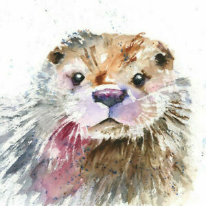Limited Edition Print of SPLASHY OTTER watercolour by HELEN APRIL ROSE   419