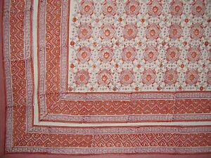 """Tile Block Print Tapestry Cotton Spread 106"""" x 88"""" Full Coral"""