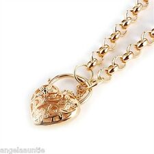 18K Yellow Gold Filled Filligree Heart Padlock Belcher Necklace (N-156)