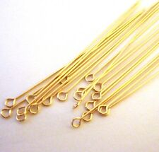 "30x 24 gauge 14K yellow Gold Filled open eye head pin Headpin 2"" GF34 made inUSA"