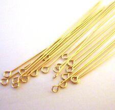 "30x 24 gauge 14K yellow Gold Filled open eye head pin Headpin 2"" GF34 made inUSA"