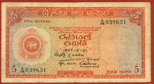 CEYLON   1957  (Sri Lanka)  5 Rupee   World paper money banknotes currency