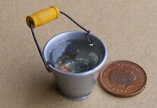 1:12 Scale Medium Metal Bucket Of Water Dolls House Miniature Garden Accessory S