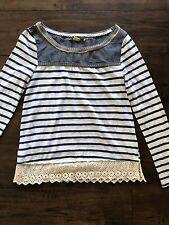 Anthropologie Little Yellow Button Striped Eyelet Trim Knit Blouse Shirt Top XS