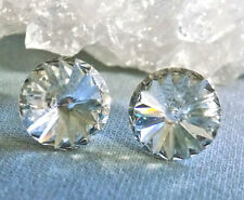 Clear Crystal Stud Earrings, 14mm Round Rivoli Swarovski Crystal Rhinestones