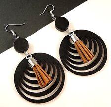 Black Lightweight Wood Filigree Earrings with Faux Suede Brown Tassels #1384