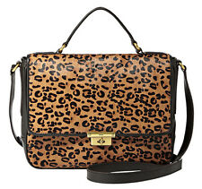 FOSSIL CHEETAH PRINT CALF HAIR & BLACK LEATHER MEMOIR FLAP BAG RETAIL £189