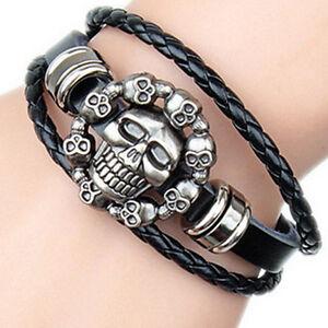 Leather Skull Bracelet biker pirate fancy dress dad fathers day son men M12