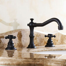 Modern Antique Black Chester Deck Mounted Widespread Sink Faucet Basin Mixer Tap