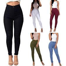Damen High Waist Freizeit Skinny Jeans Stretch Röhrenjeans Hose Slim Legging